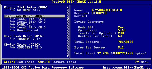 Disk Image for DOS information display