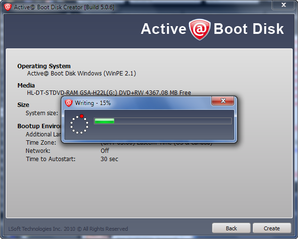 CD Boot Disk Creation in Progress