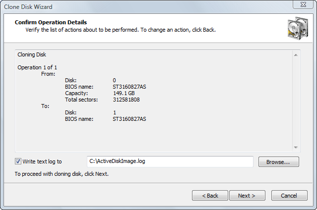 Disk Image software.Confirming Clone Details