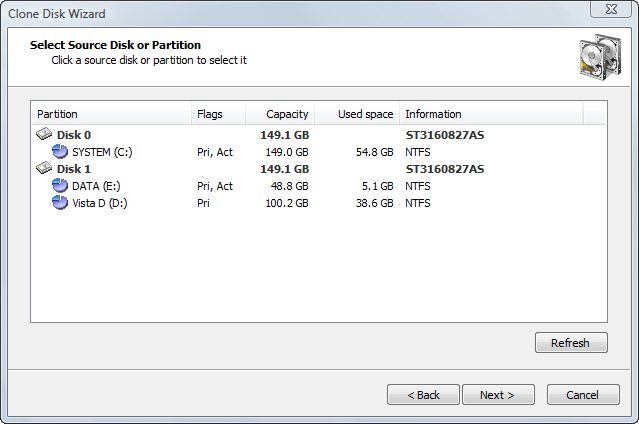Selecting a Source Disk or Partition