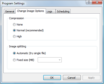 Hard Drive backup: Image Options Settings